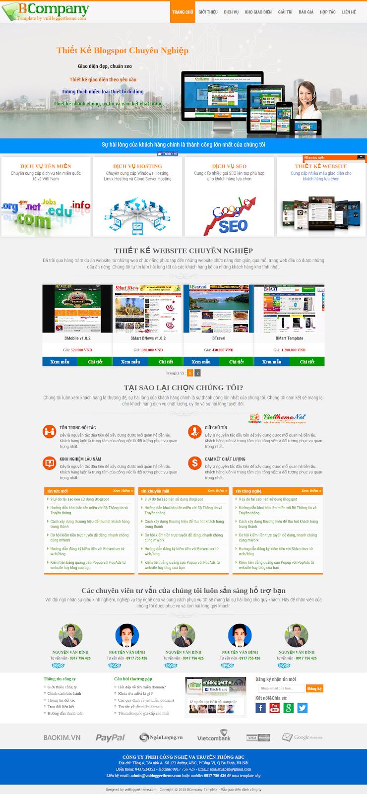 BCompany Template giới thiệu công ty về sản phẩm hay dịch vụ
