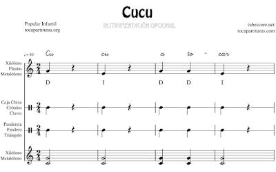 Cucu Canción Infantil Partitura de Xilófono & Metalófono Flauta Pequeña Percusión Pandero Pandereta Triángulo Claves Caja China...