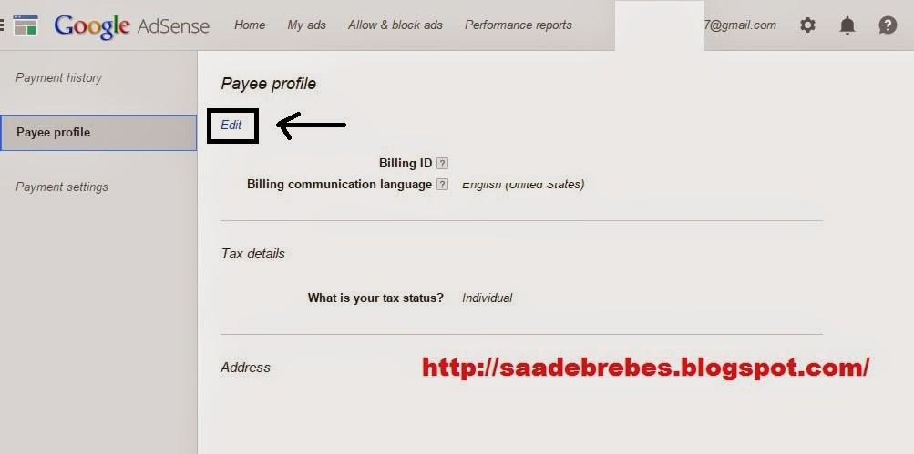Cara mengganti nama dan alamat pembayaran akun adsense