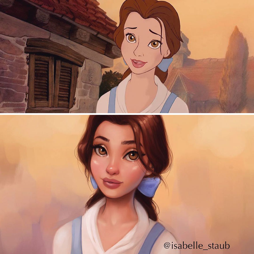 #3 Belle, Beauty And The Beast - llustrator Repaints Disney Princesses In Her Unique Style
