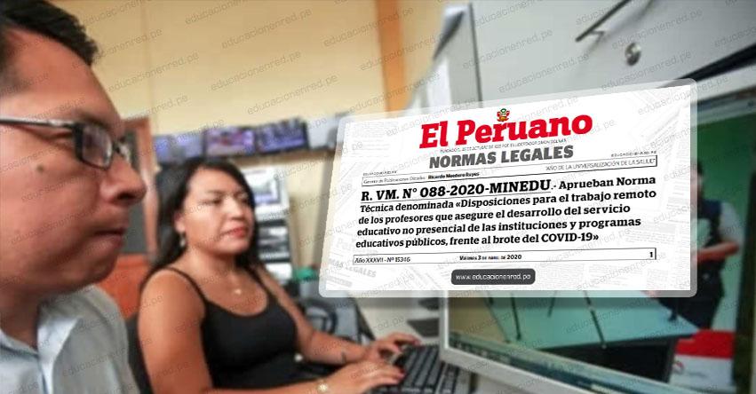 MINEDU publicó directiva para el trabajo remoto de docentes (R. VM. N° 088-2020-MINEDU)