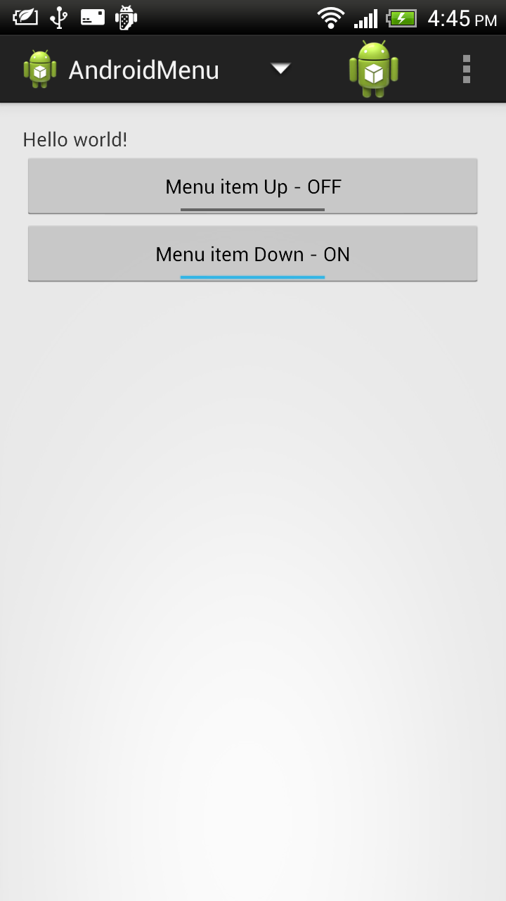 Android-er: Show and hide menu item programatically
