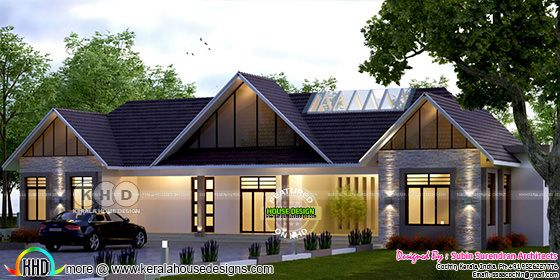 Single floor sloping roof 4 bedroom home