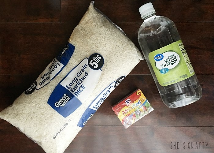 Supplies and DIY directions for coloring rice