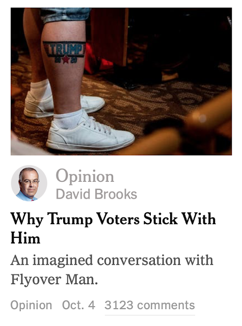 David Brooks has  An imagined conversation with Flyover Man.