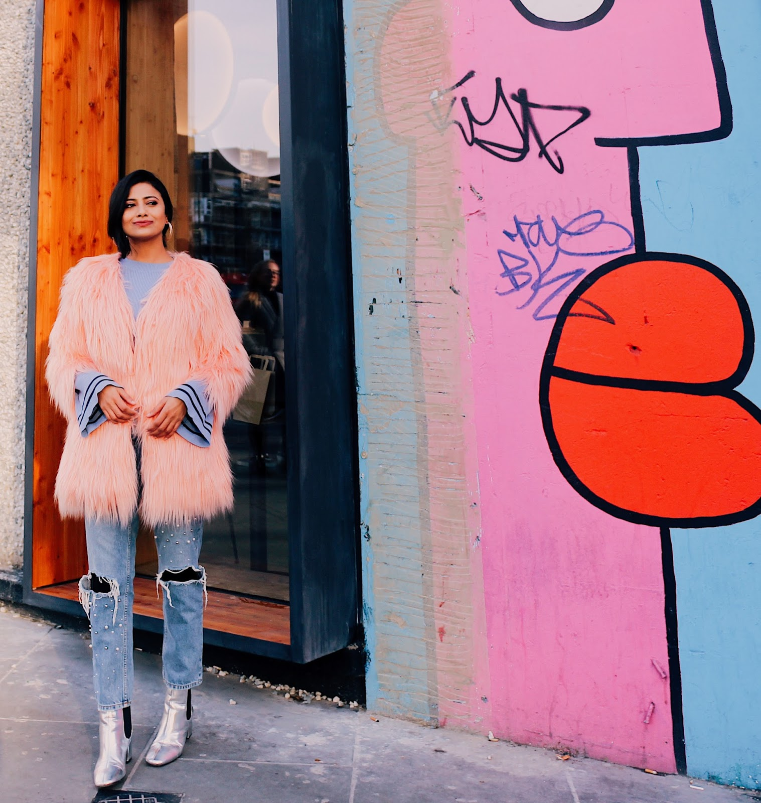 why metallic shoes, silver metallic boots, london blogger, indian blogger, british blog, indian blog, pink fur jacket, pearl denim, blue flare sleeve jumper, winter layering, winter blogger outfit, pink and blue outfit, casual chic, london street style, london blogger outfit, wear in shoreditch
