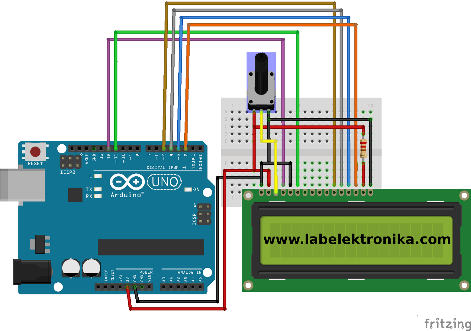 Cara Program Lcd Karakter 16x2 Menggunakan Arduino Dan Simulasi Wiring Tutorial 16x02