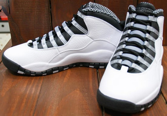 quality design 2d56b 93828 After a brief hiatus, the Air Jordan X is back for its third retro run.  This white, black, light steel grey and varsity red colorway is the first  pair set ...