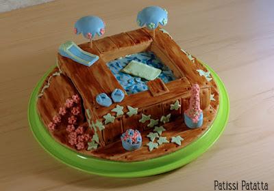 gâteau piscine, cake design, pâte à sucre, gumpaste, modeling flowers, swimming-pool cake, patissi-patatta