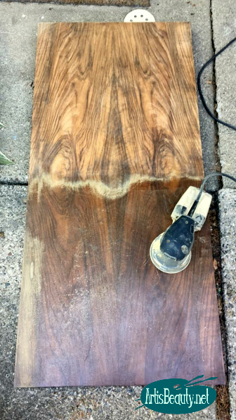 SANDING the top of the buffet dresser with random orbital sander woodwork refinishing diy