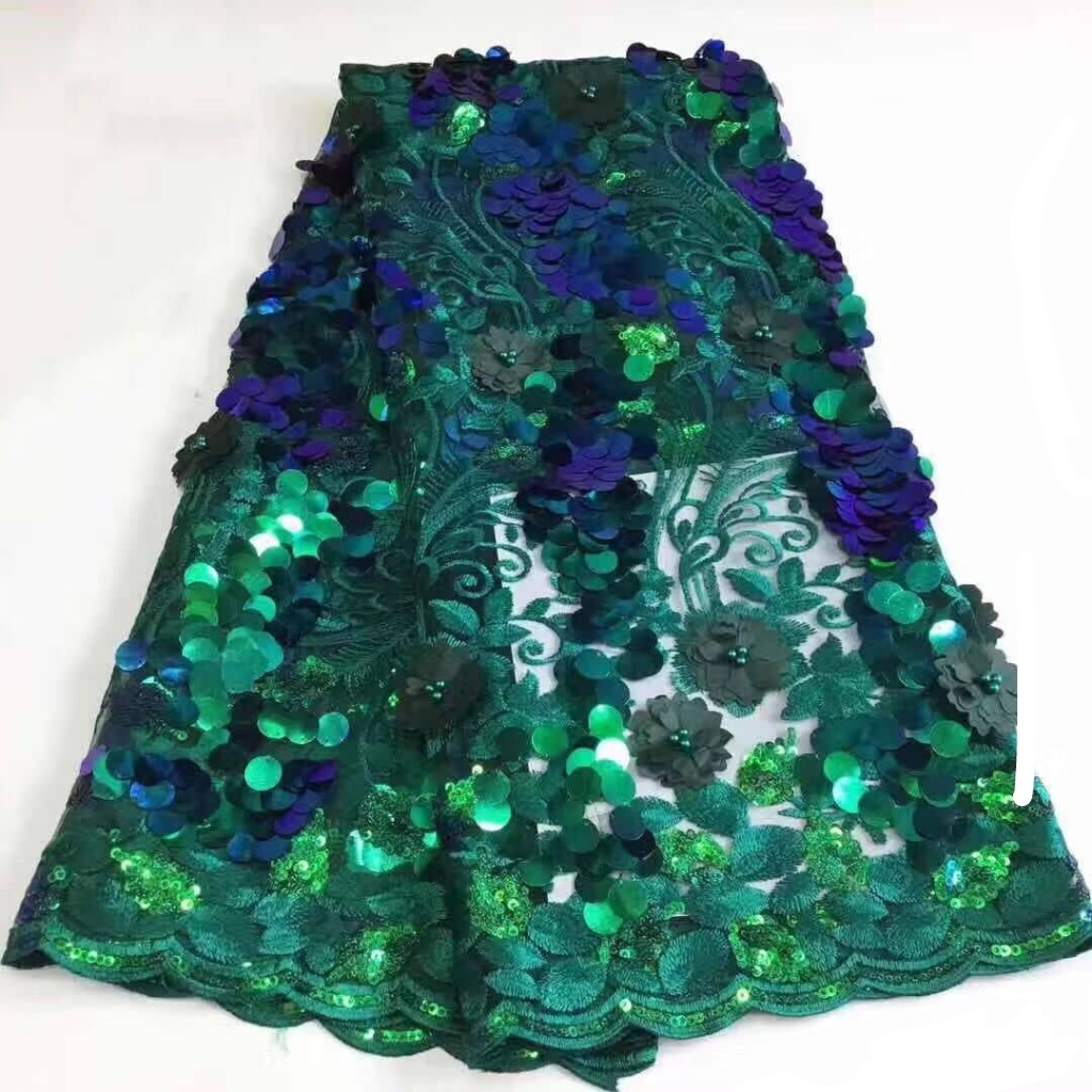 Akorede Retailed Sequin Exotic Lace Fabric P201