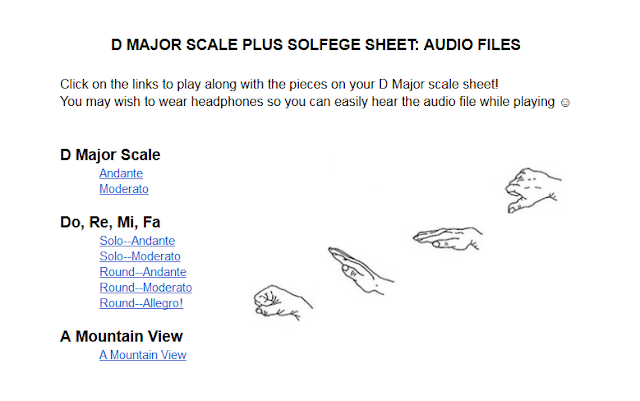 Beginning orchestra audio files for D Major scale pieces