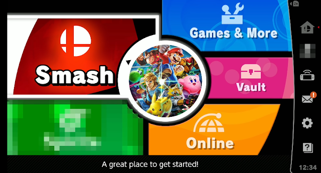 Super Smash Bros. Ultimate main menu pixelated green