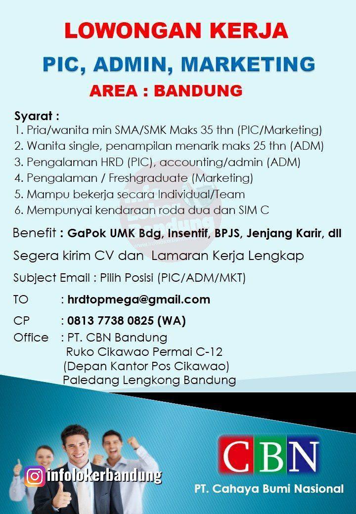 Lowongan Kerja PT.Cahaya BUmi Nasional ( Bandung ) Maret 2019