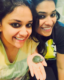 Keerthy Suresh with a Cute Little Tortoise along with her Lovely Friend Selfie