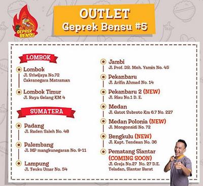 Outlet Ayam Geprek Bensu di Sumatera dan Lombok