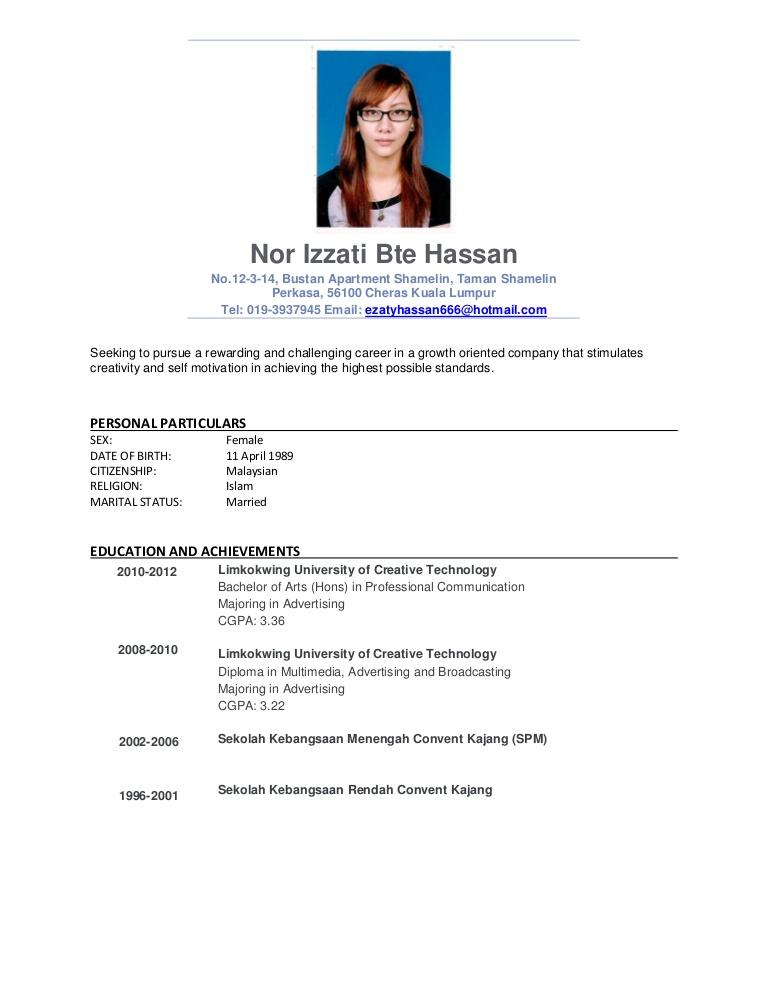 Curriculum Vitae Dalam Bahasa Inggris Fresh Graduate Ff Uta Cl