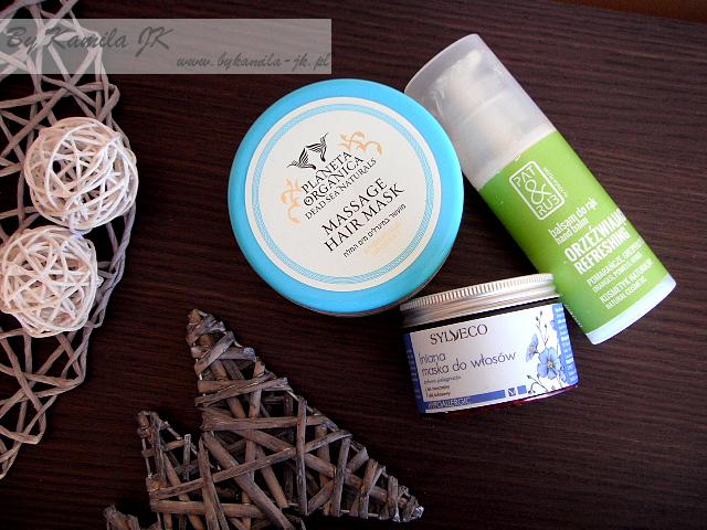 Kosmetyki naturalne peeling do skóry głowy Planeta Organica lniana maska do włosów Sylveco orzeźwiający balsam do rąk Pat & Rub