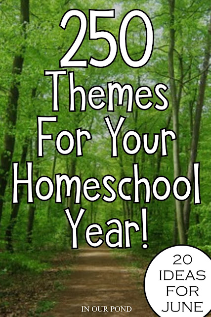 20 Theme Ideas for June as part of the 250 Theme Unit Ideas for Your Entire Homeschool Year blog post // In Our Pond