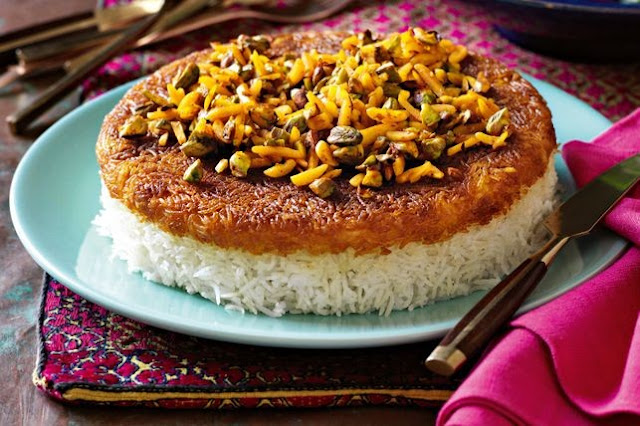 Entice your friends with a Persian feast featuring this layered saffron Tha dig (Persian rice) recipe