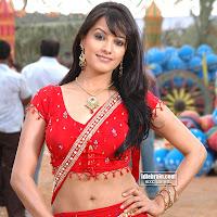 ANITA in red half saree