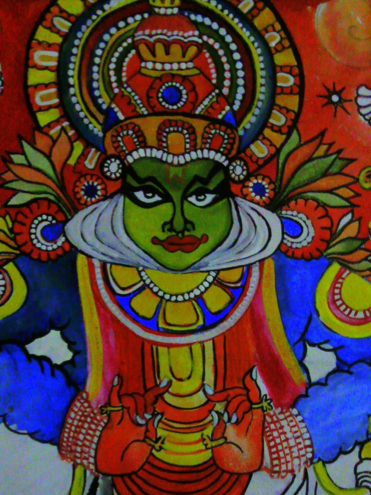 Kerala Style Carpenter Works And Designs September 2013: Varnaalaya: Kathakali Paintings