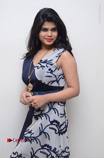Telugu Actress Alekhya Stills in Blue Long Dress at Plus One ( 1) Audio Launch  0083.jpg
