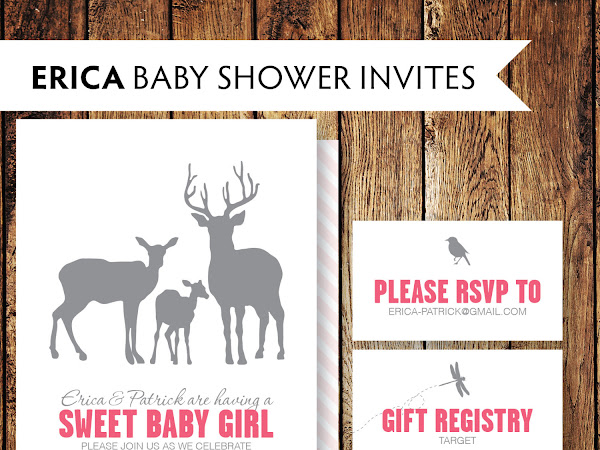 Deer Family Baby Shower Invitations