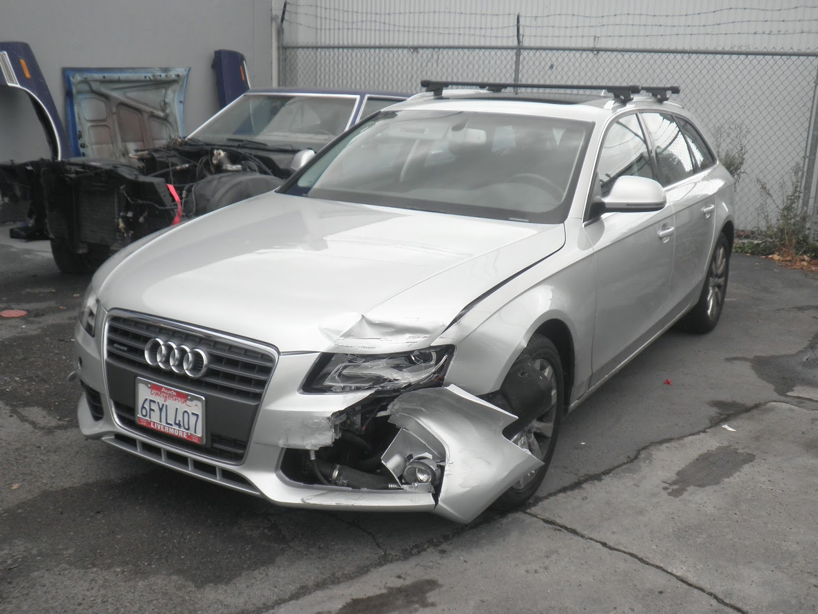 Audi A4 before auto body work at Almost Everything Collision Center