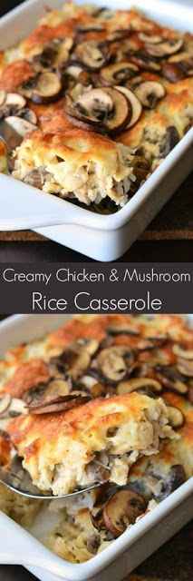 Creamy Chicken Mushroom Rice Casserole - Delicious, creamy, cheesy rice casserole made with lots of mushrooms and chicken. This casserole will make a perfect family dinner that everyone will love. #chicken #chickenrecipe #casserole #mushroom #dish #maindish #dinner #dinnerrecipe