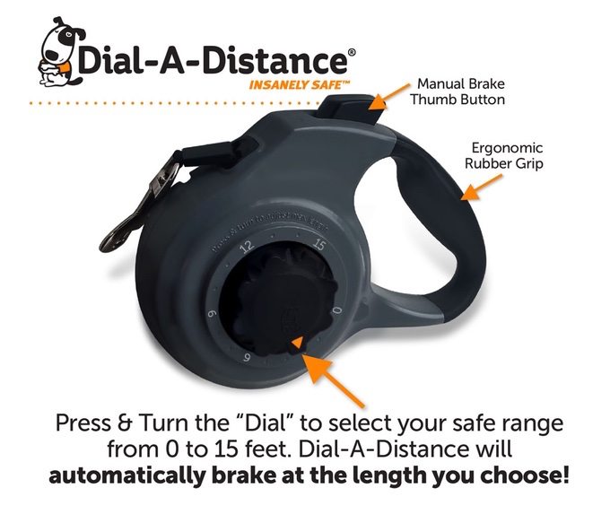 Thundershirt's Dial-A-Distance is the safest retractable dog leash