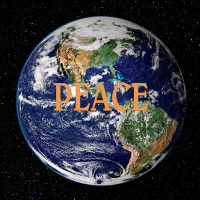Picture of earth from space with Peace written in the middle Peace on Earth