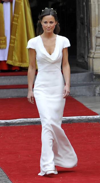 Pippa Middleton vestido branco, dama de honra, casamento Kate e Willian