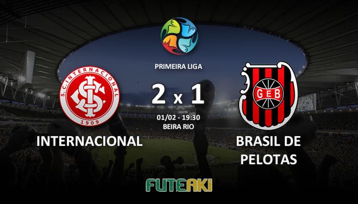 Veja o resumo da partida com os gols e os melhores momentos de Internacional 2x1 Brasil de Pelotas pela Primeira Fase da Primeira Liga 2017.