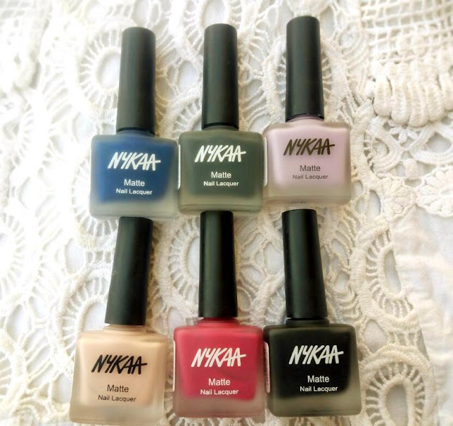 Nykaa Matte Nail Lacquers in Pink Meringue,Black Sesame Pudding,Strawberry Shortcake,Blueberry Compote,Lavender Panna Cotta and Squid Ink Mousse