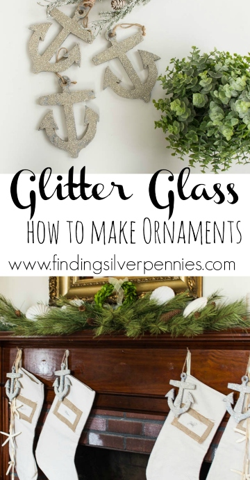 DIY Nautical Glass Glitter Ornaments