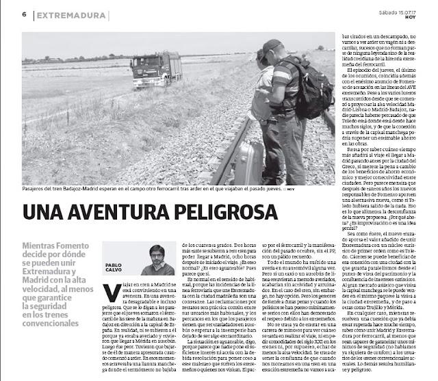 Una aventura peligrosa Pablo Calvo HOY Tren Extremadura