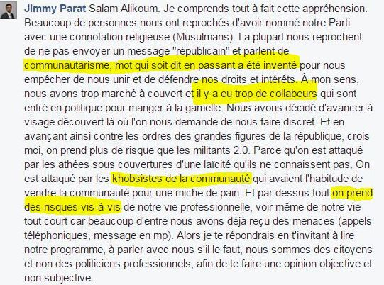 """Jimmy Parat est de ces intégristes qui aiment proférer des termes racistes contre des musulmans (pour lui, toute personne d'origine maghrébine est forcément musulmane). Ancien élu municipal à Bagnolet, il est secrétaire général du parti politique islamiste """"Français ET Musulmans"""" dont il fut le candidat aux législatives de 2017 en Seine-Saint-Denis."""