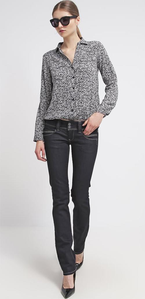 Jean femme droit taille basse brut bleu foncé Pepe Jeans