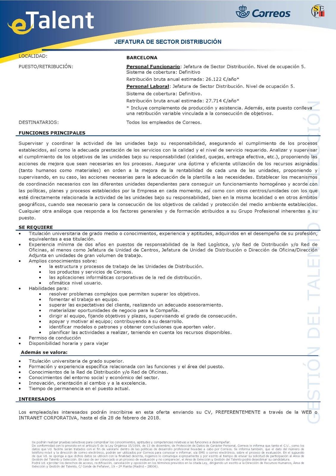 Csi f correos tarragona convocada jefatura sector for Oficina de correos barcelona