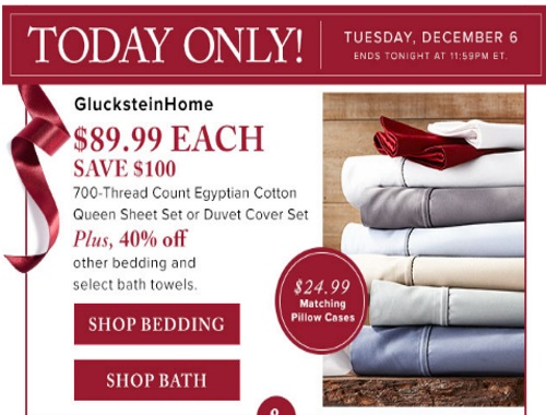 Hudson's Bay GlucksteinHome Egyptian Sheets $100 Off + 40% Off Bedding