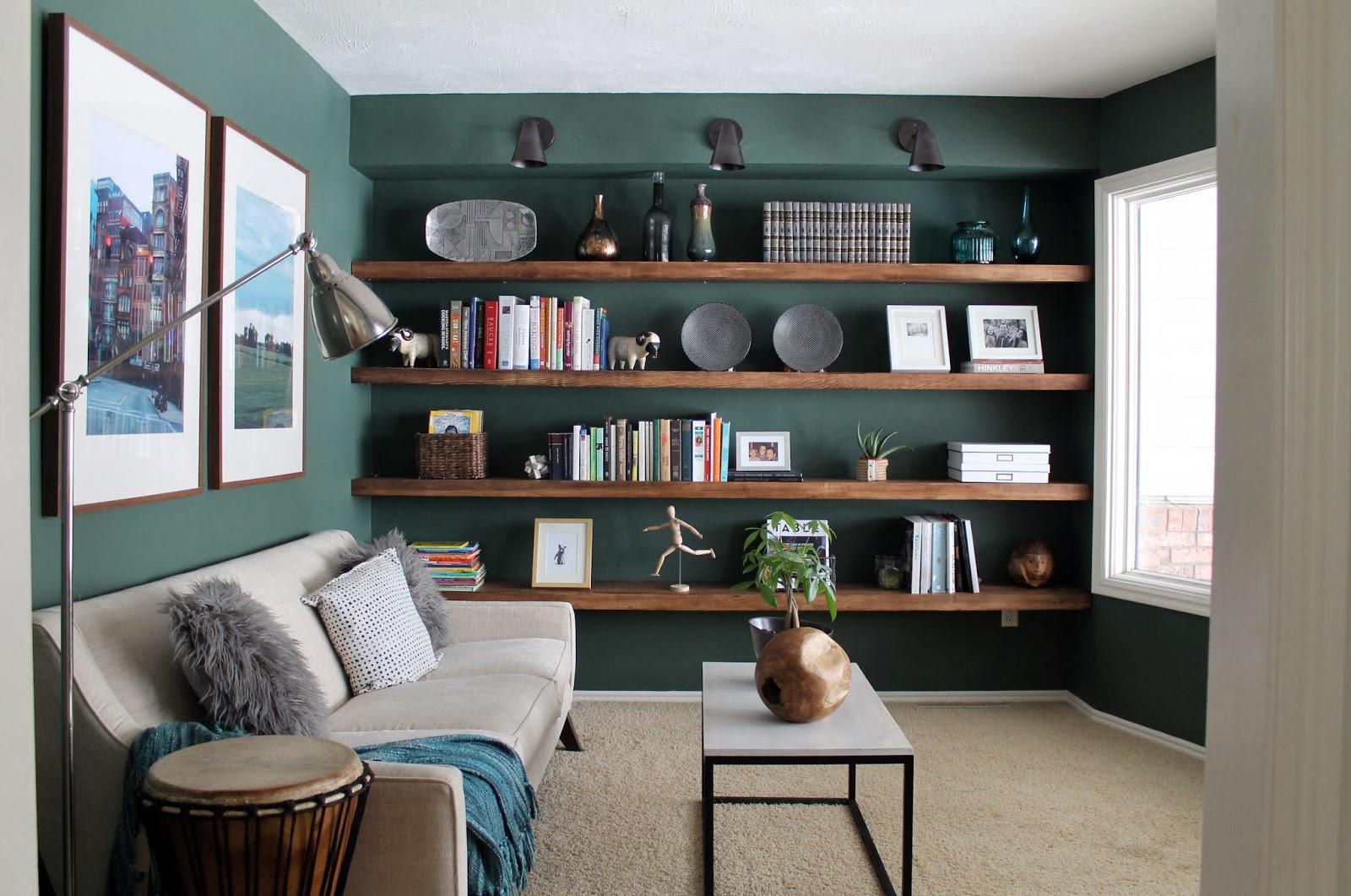 Living Room Wall Shelves: The Reading Room Shelves: Fully Loaded