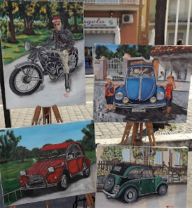Painter of cars with pictures