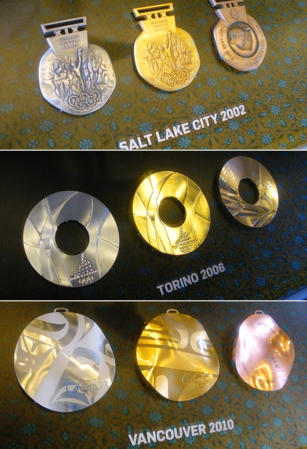 Medals from Salt Lake City 2002, Torino 2006 and Vancouver 2010 at the Olympics Museum in Lausanne, Switzerland