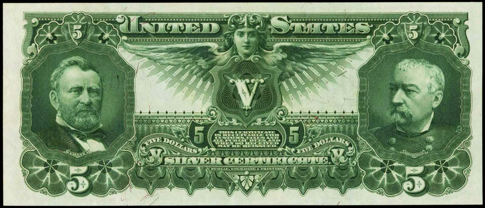 United States currency 5 Dollar Silver Certificate Educational