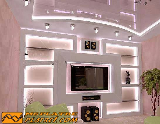 Decoration tv wand platre platre for Decoration salon avec ba13