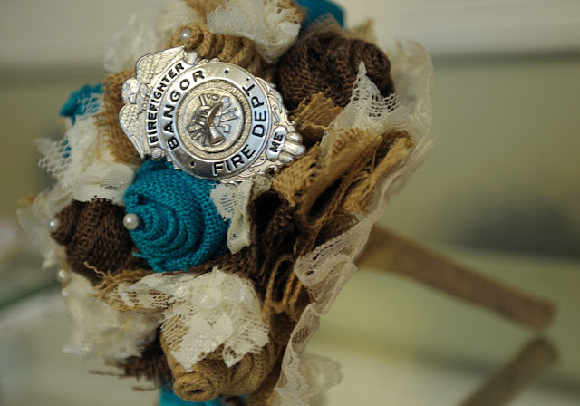 rustic turquoise burlap wedding bouquet