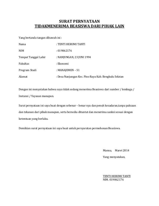 7 Contoh Surat Resmi Pernyataan Tidak Menerima Beasiswa Dan