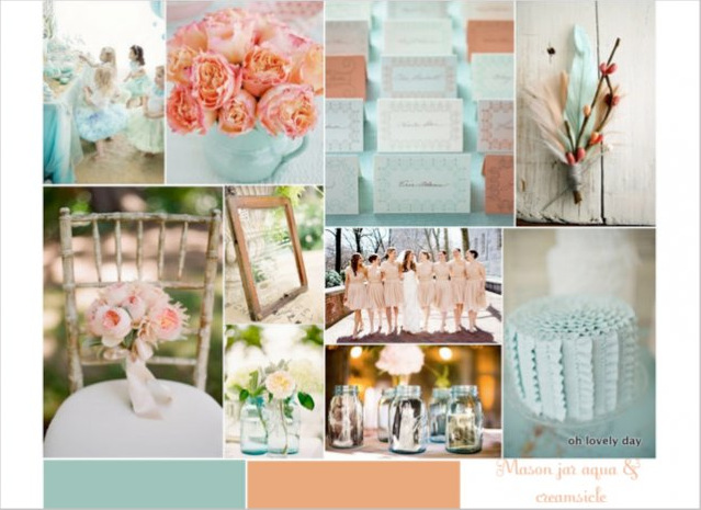 mason jar aqua and creamsicle coral color palette inspiration board from oh lovely day