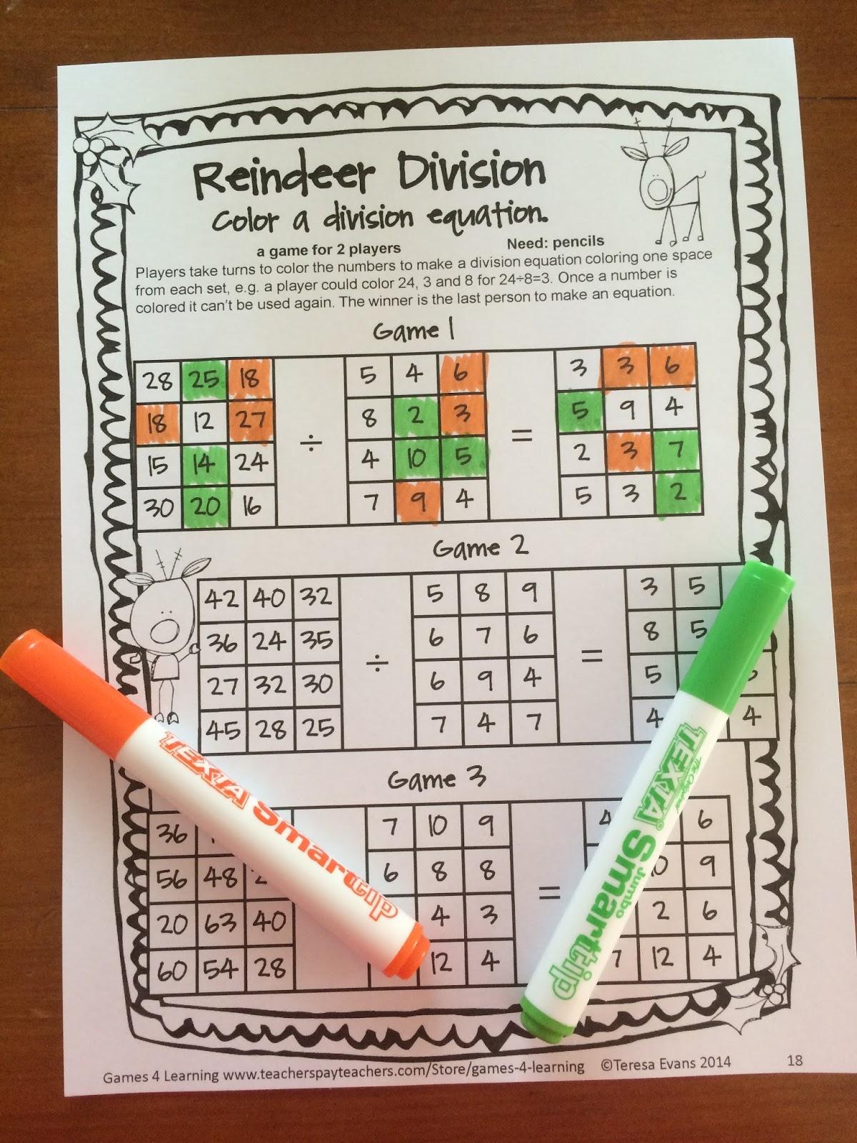 Fun Games 4 Learning Christmas Math Fun Freebie